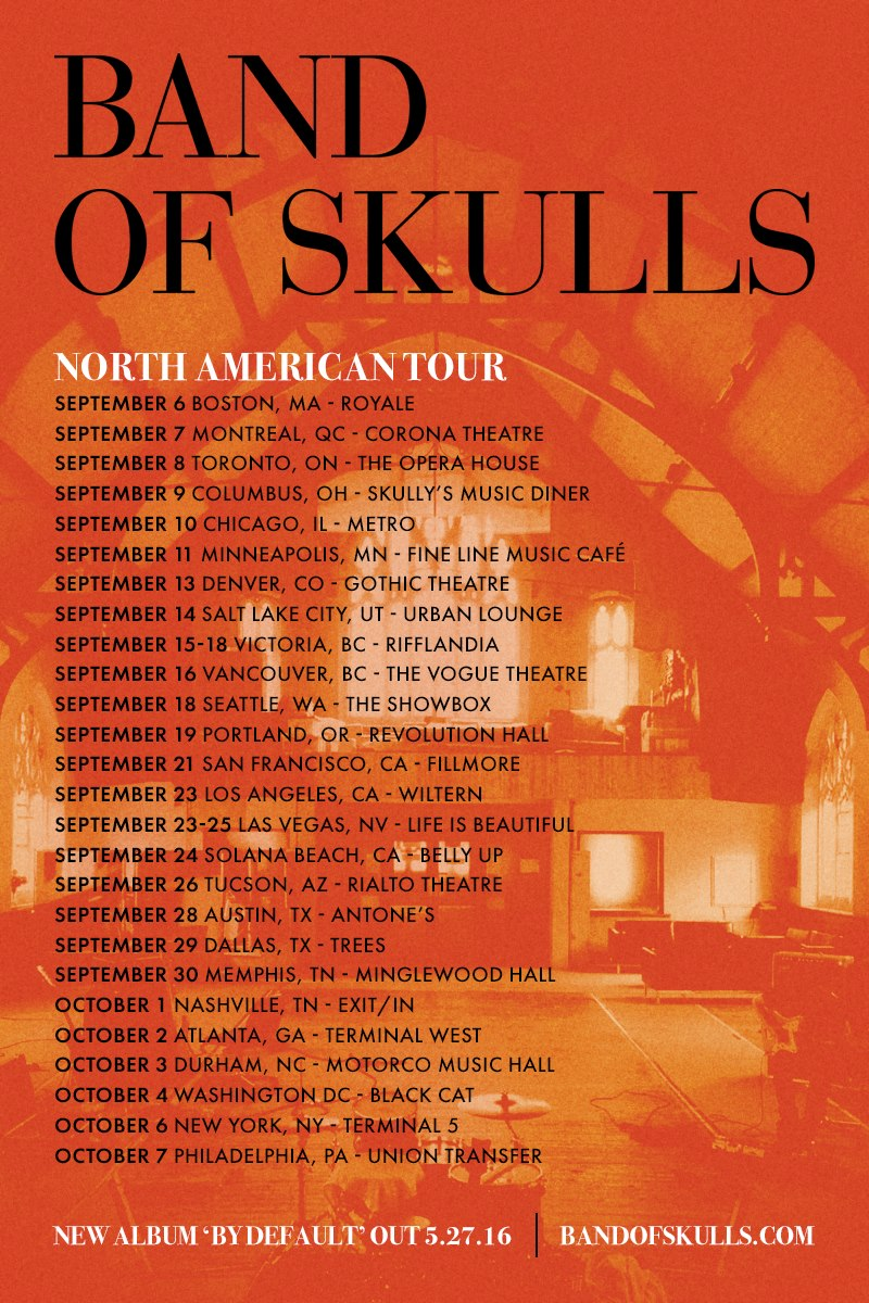Band of Skulls North American Tour 2016 poster