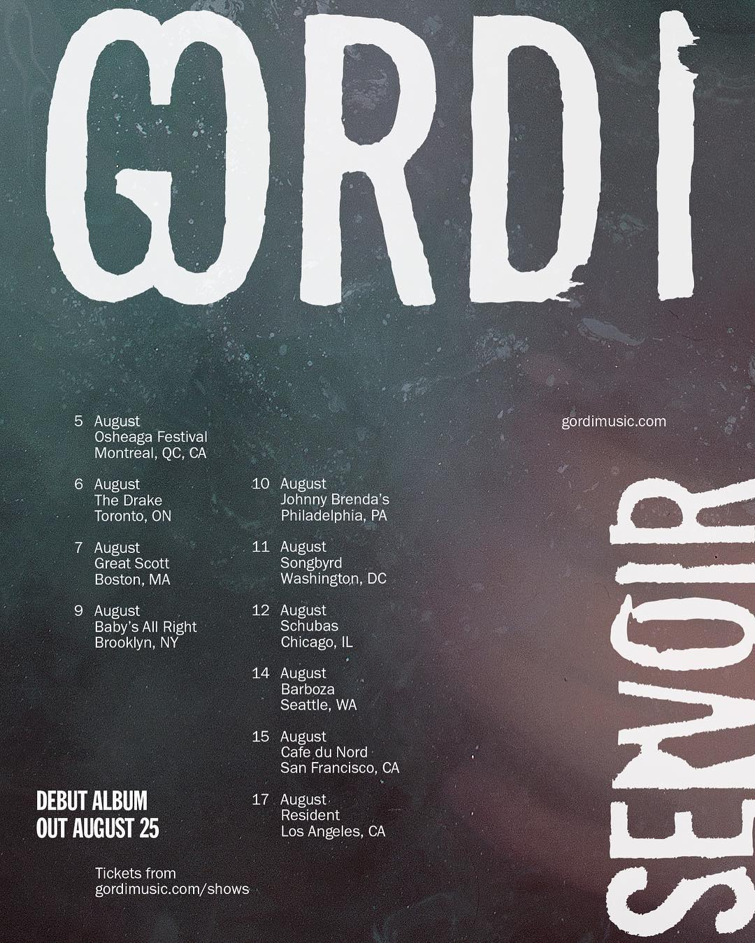 Gordi :: August 2017 tour dates