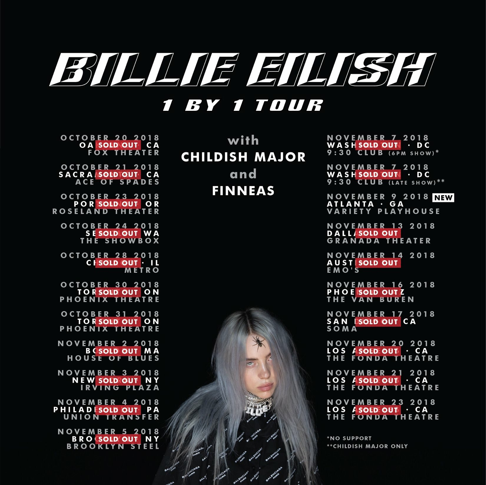 Billie Eiliah - 1 by 1 Tour Poster