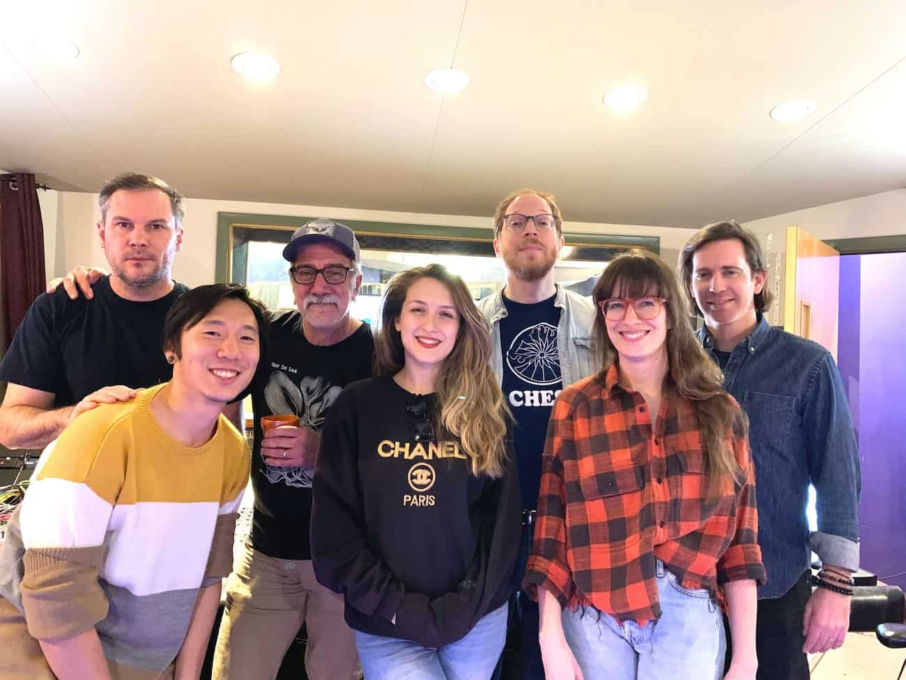 Roan Yellowthorn's studio crew, from left to right: Emil Amos, Jeremy Delaney, John Agnello, me, Andy Burton, Jesske Hume, and Shawn Strack