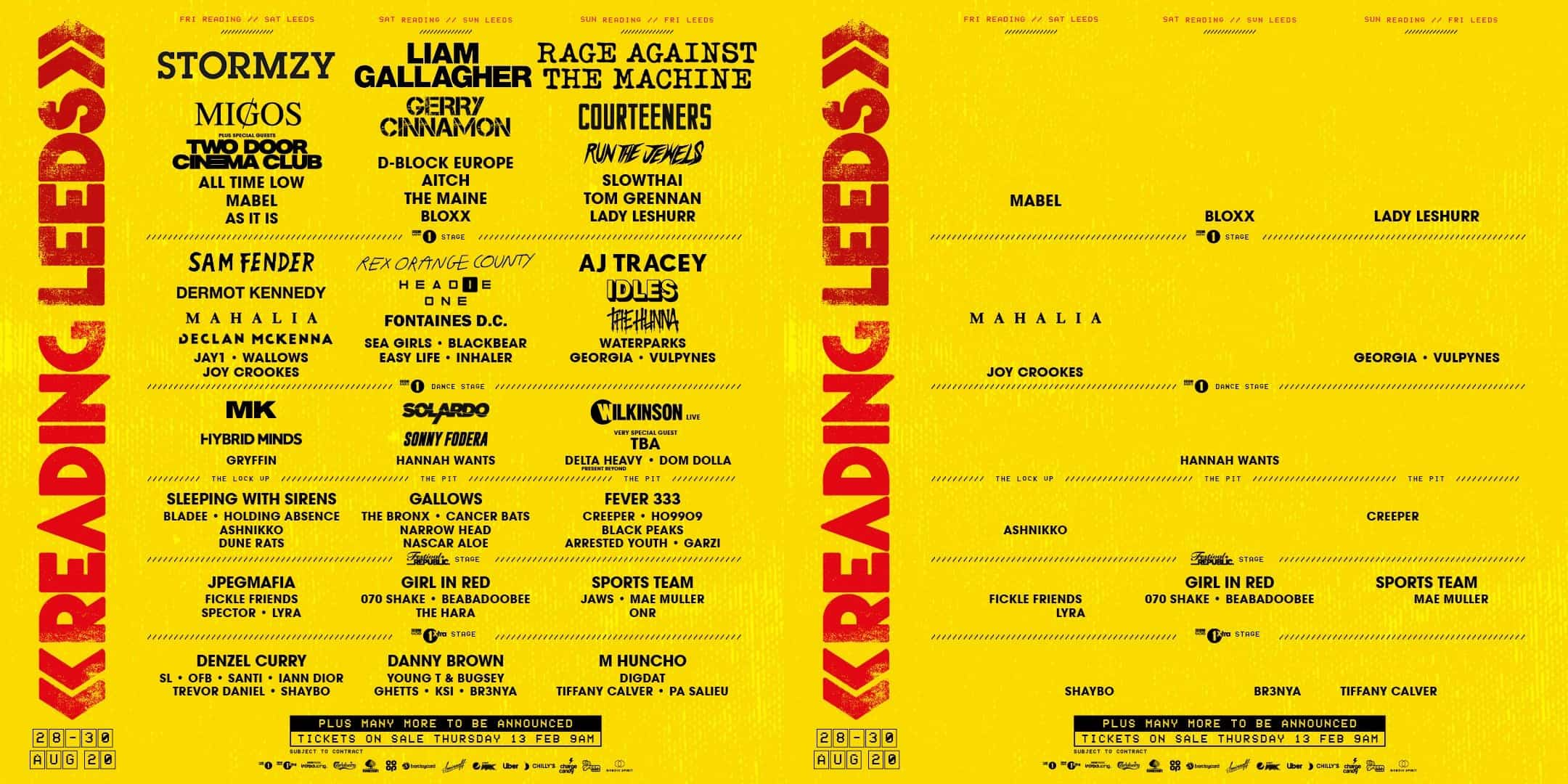 Reading and Leeds 2020 festival lineup